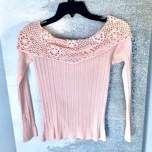 Baby pale pink boat neck long sleeve blouse.